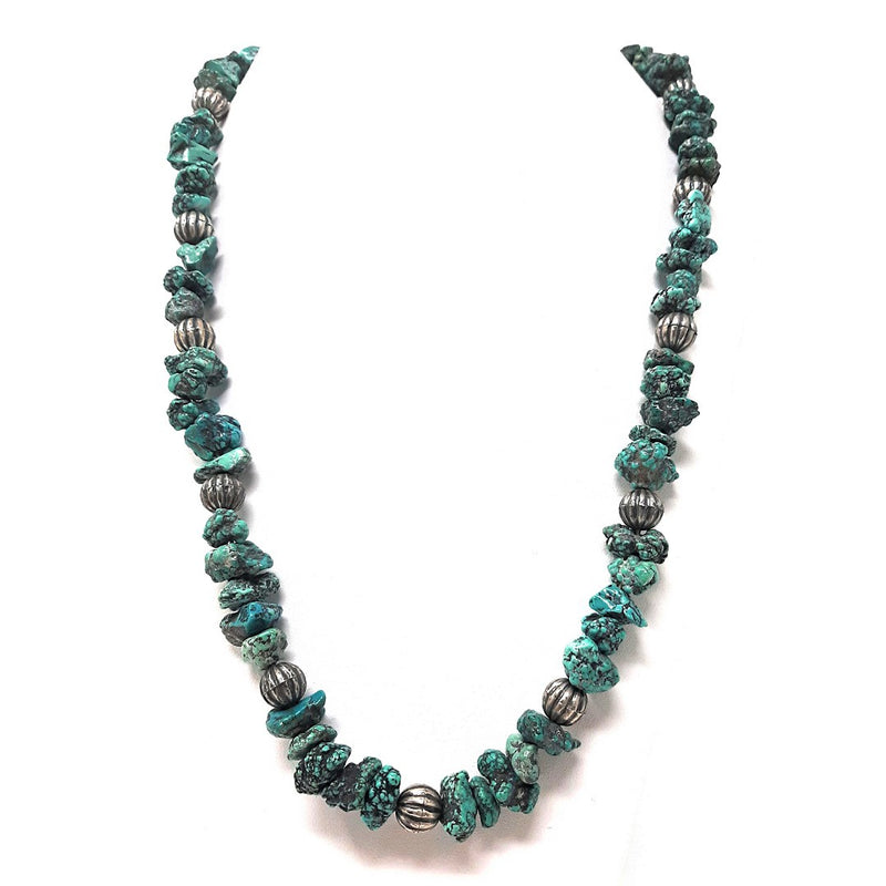 Native American Sea-foam Turquoise and Heishi beaded Necklace 10 1/2