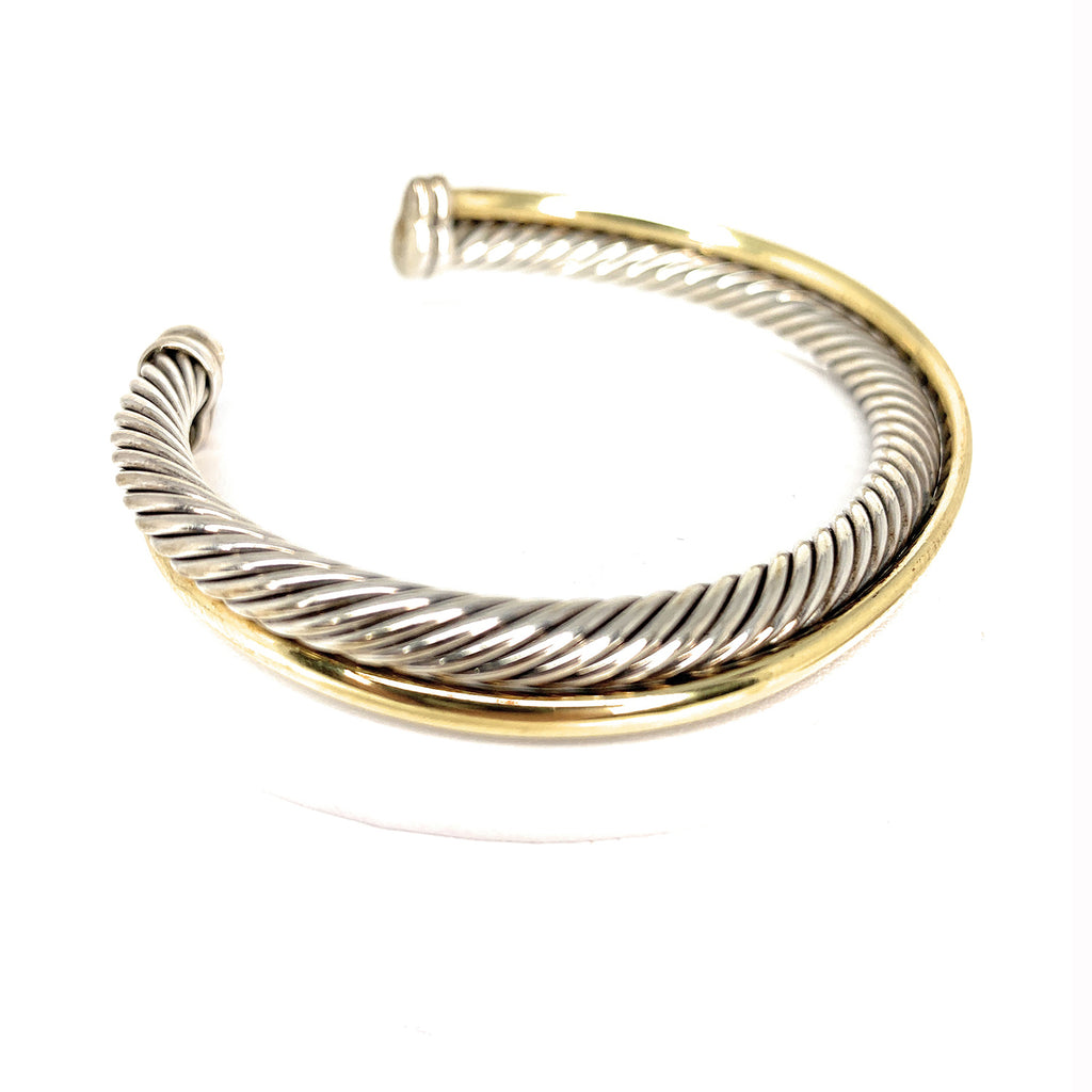 David Yurman Crossover Cuff Bracelet with 18K Gold, 5mm