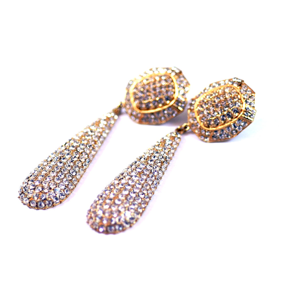 Costume Gold Tone Large Dangle Earrings with Rhinestone