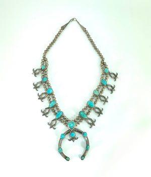 Native American Sterling Silver & Turquoise Zuni Sandcast Squash Blossom Necklace