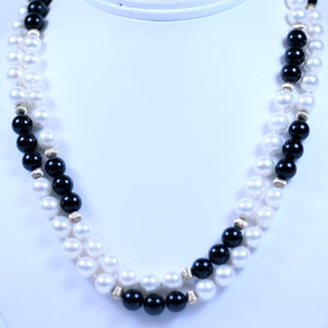 14K White Gold Black Onyx and White Pearl Beaded Necklace