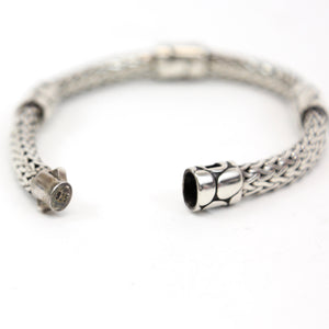 John Hardy Sterling Silver Cable Bracelet with Pebble Design Stations