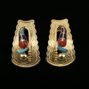 21K Yellow Gold Native American Earrings, Rattlesnake Design with Coral, Lapis, and Turquoise inlaid