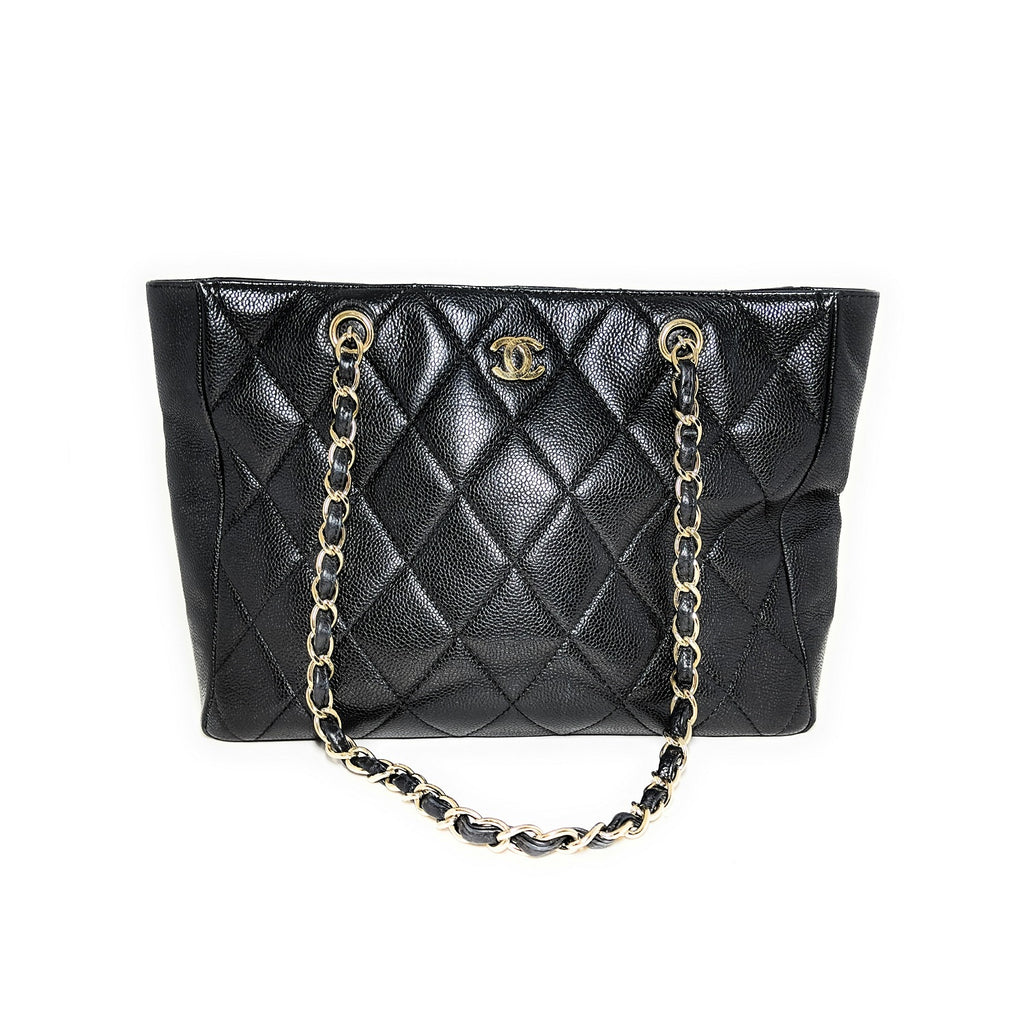 Chanel Vintage Black Quilted Caviar Timeless Tote