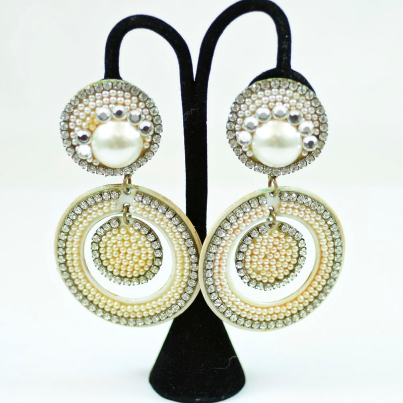 Costume Round Beaded Faux Pearl Dangle Clip-On Earrings with Rhinestones