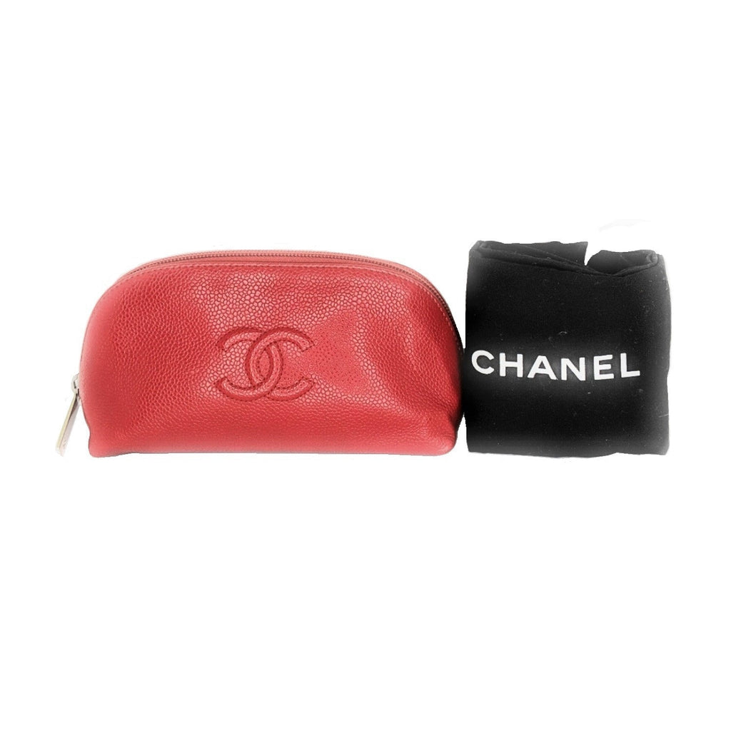 Chanel Red Caviar CC Dome Cosmetic Case