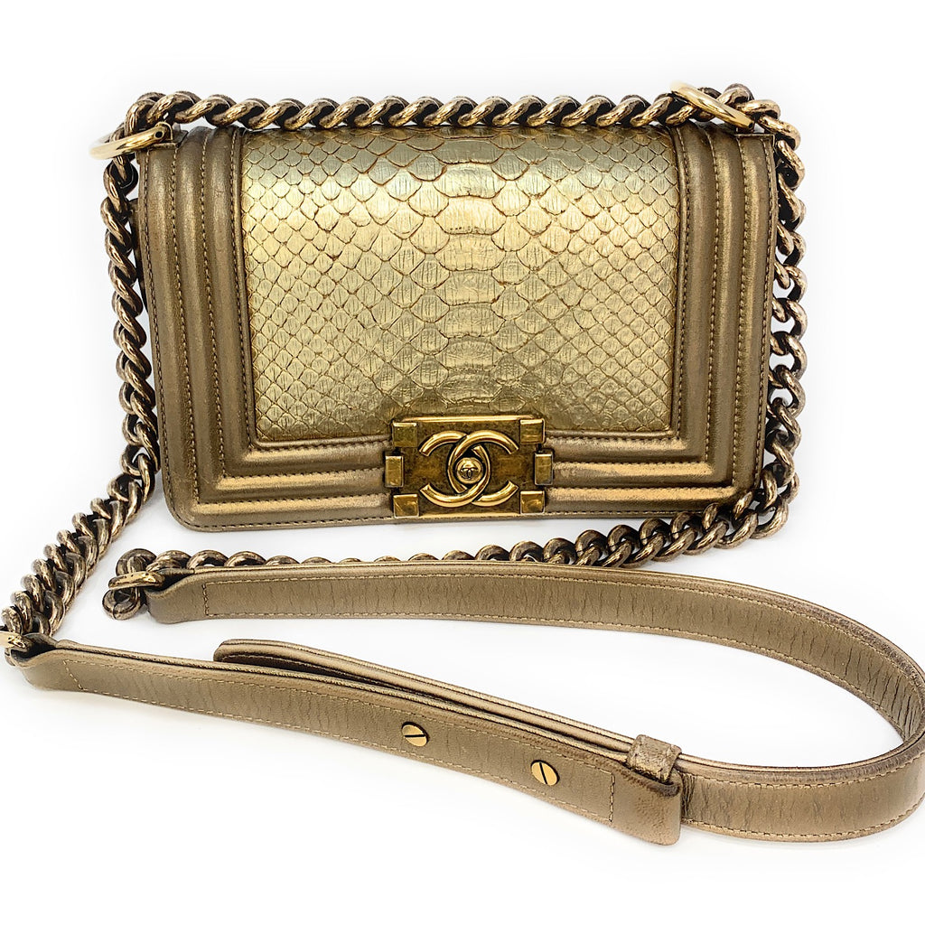 Chanel Metallic Gold Python Boy Small Flap Bag