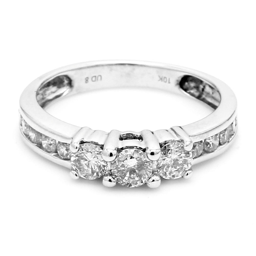 10K White Gold 0.80ctw Diamond Enagagement Ring, Size 6.75
