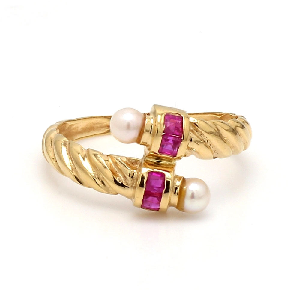18K Yellow Gold, Ruby, & Pearl Bypass Ring - Sz. 8