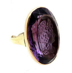 Retro Style 14 Karat Yellow Gold Amethyst Cameo Style Intaglio Ring, Size 6