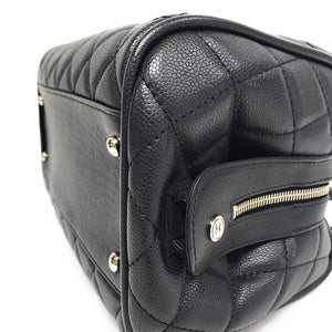 Chanel Black Quilted Caviar Leather Timeless Classics Bowler Bag