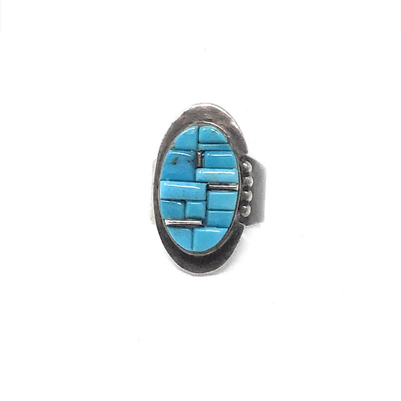 Signed VC Sterling Turquoise Cobble Inlay Unisex Ring Sz 8