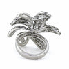 Lady 18K White Gold Diamond Flower Swirl Ring, Sz. 6¾