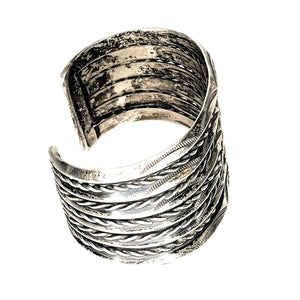 Old Pawn Navajo Sterling Silver Five Row Cuff