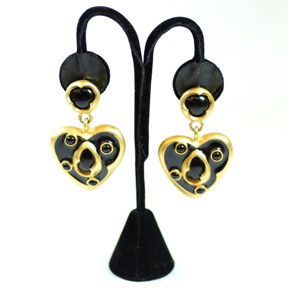 Costume Gold Tone Faux Black Onyx Large Dangle Heart Earrings