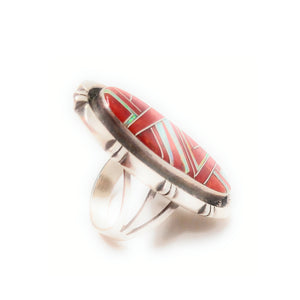 Zuni Red Coral and Mother of Pearl Tri Split Shank Ring SZ 8""