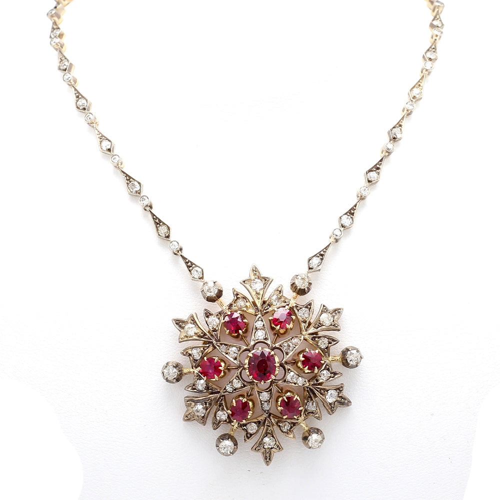 Victorian 18K & Sterling Silver Diamond & Ruby Snowflake Pendant Necklace