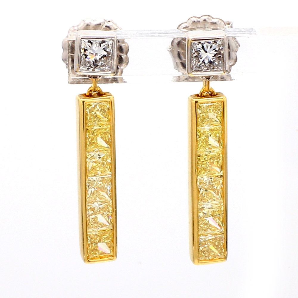 18K 2-Tone Gold 2.31ctw Diamond Bar Drop Earrings