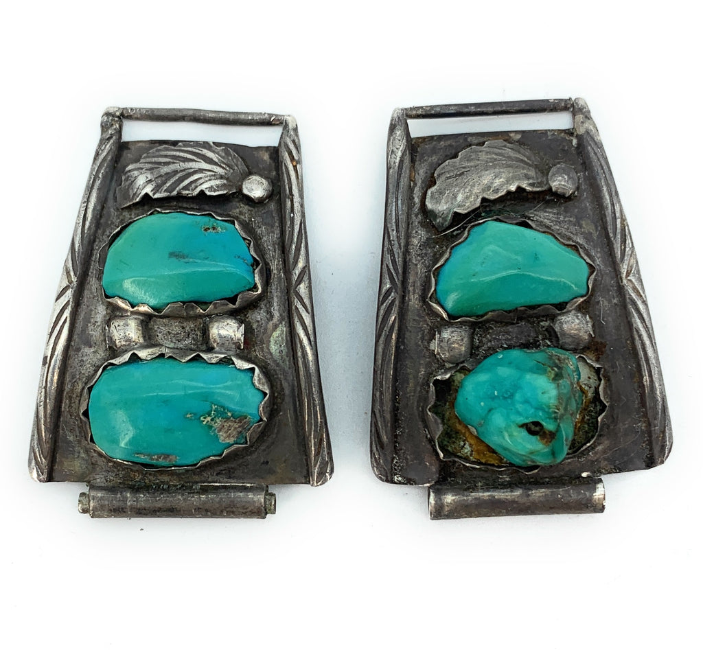 Vintage 1960's Zuni Sterling Silver & Sleeping Beauty Turquoise Watch Tips