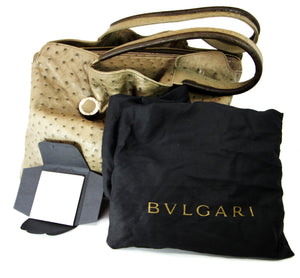 Bvlgari Taupe Ostrich Leather Weekend Hobo Bag