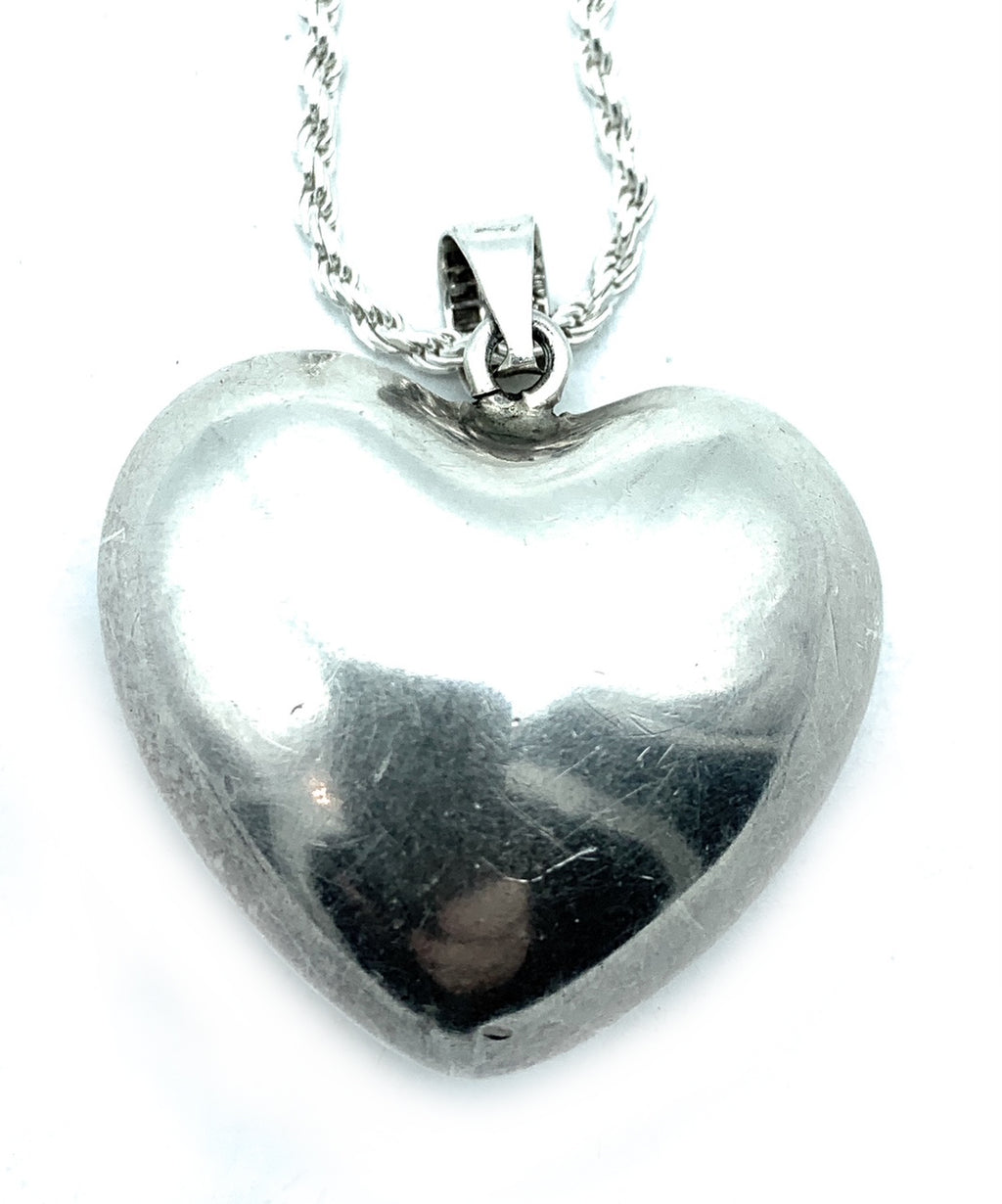 Mexico Sterling Silver Puffy Heart Pendant & Diamond Cut Rope Chain - 18in.