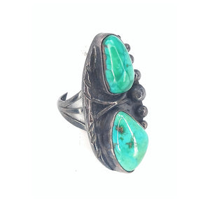 Vintage Green Turquoise Sterling Silver Three Shank Ring size 7 12