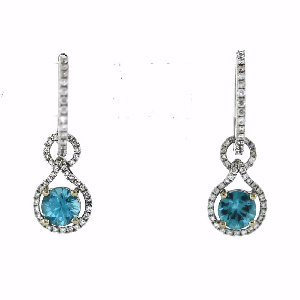 18K White Gold Blue Zircon & Diamond Hoop Dangle Earrings