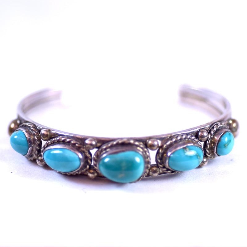 Sterling Silver and 5-Stone Turquoise Native American Style Jewelry Cuff Bracelet