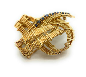 Vintage Tiffany & Co. 18K Yellow Gold & Sapphire Ribbon Brooch