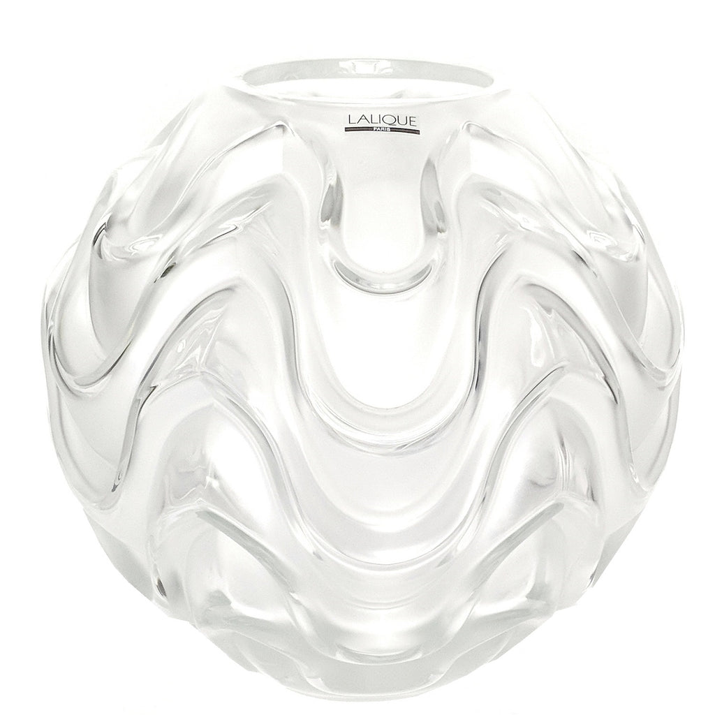 Lalique France Clear & Frosted Crystal Vibration Round Globe Vase
