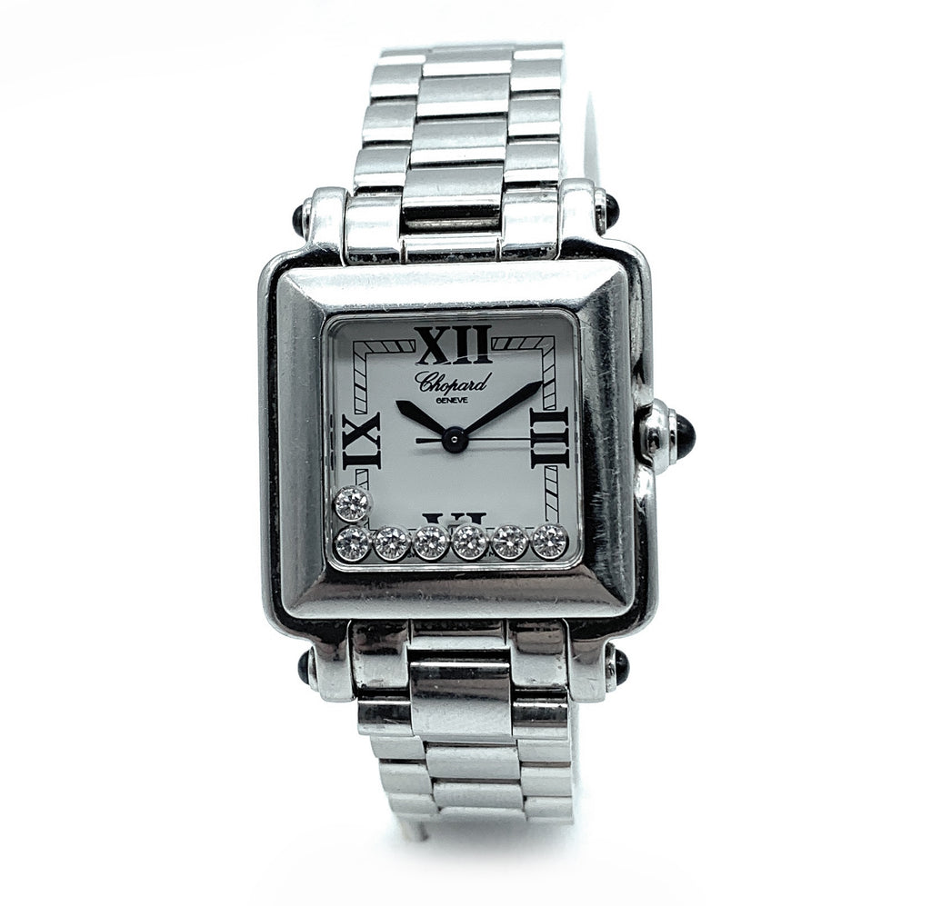 Chopard 'Happy Sport' Classic Diamonds Square Ladies Watch