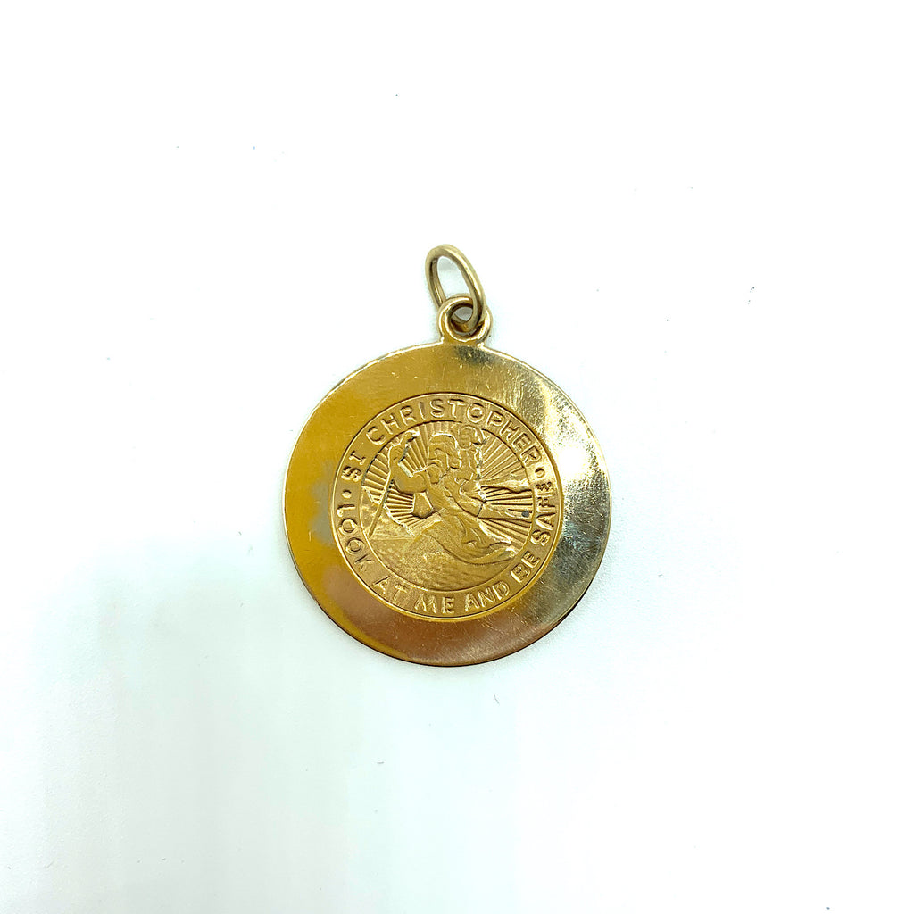 Tiffany & Co. 14K Yellow Gold St Christopher Medal Pendant