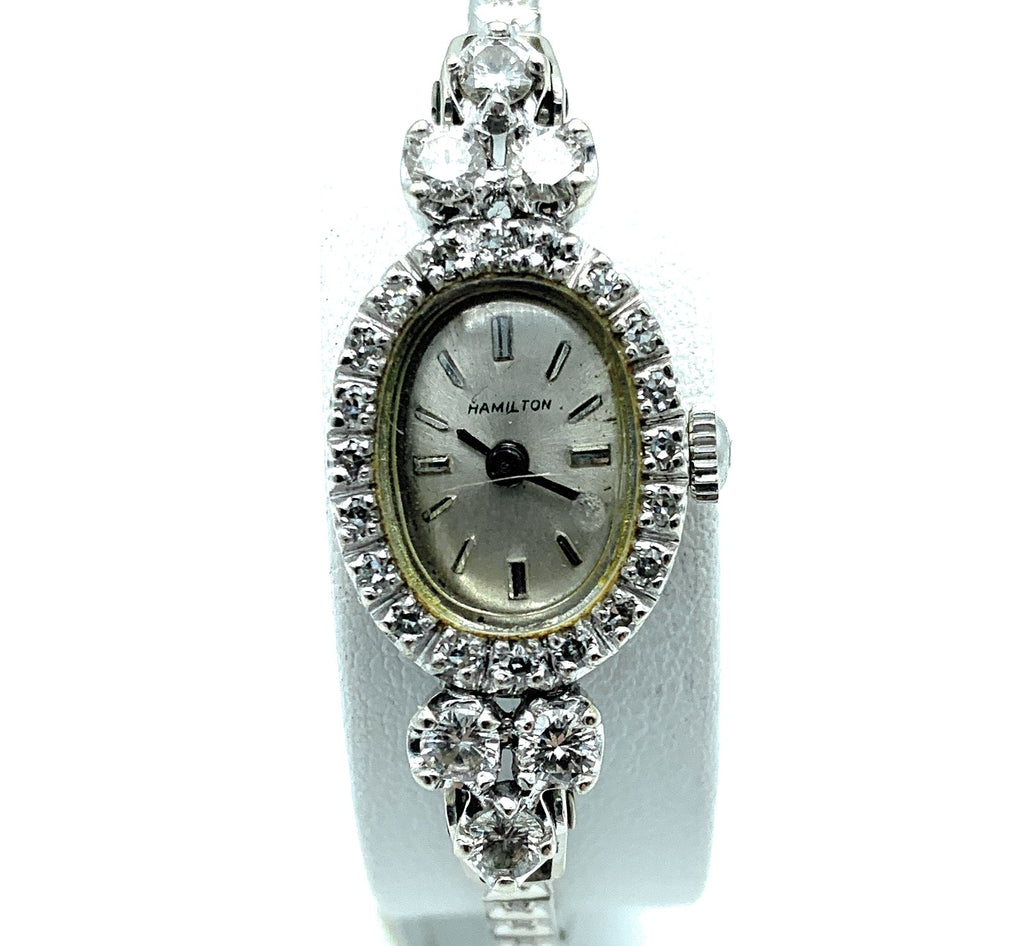 Antique Hamilton 14K White Gold 1.00ctw Diamond Ladies Watch