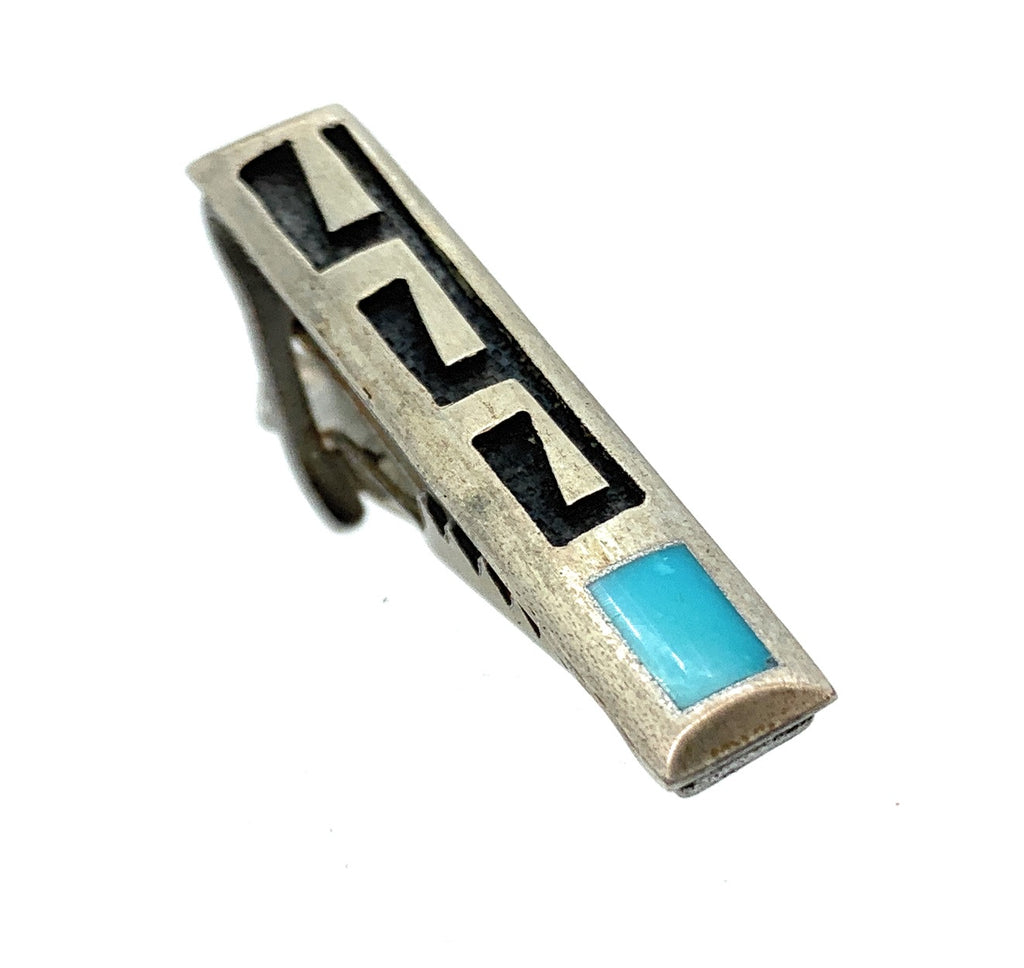 Vintage 1950's Hopi Sterling Silver Overlay & Turquoise Inlay Tie Bar Clip