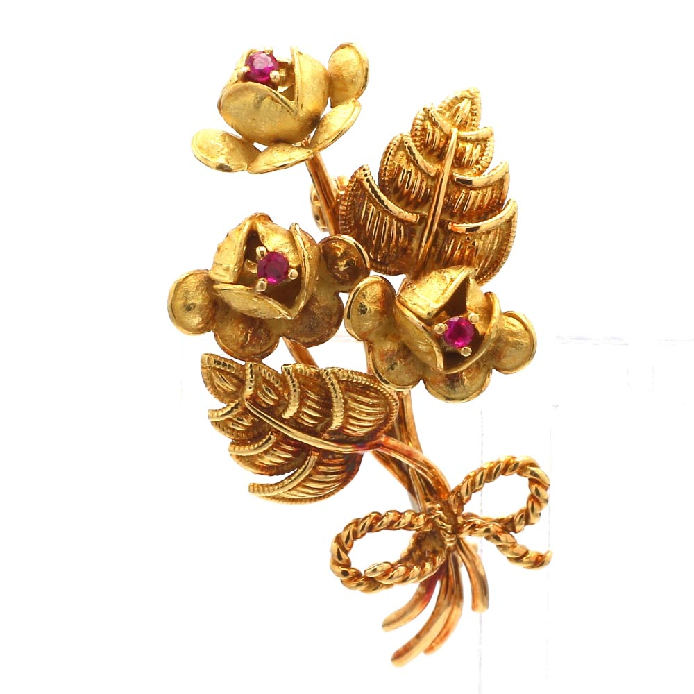 Vintage Tiffany & Co. 18K yellow Gold & Ruby Flower Pin Brooch