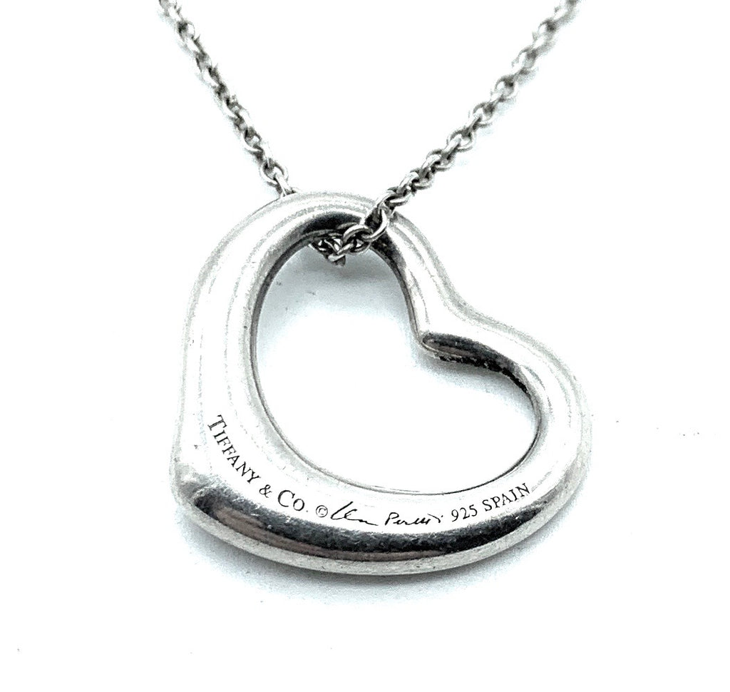 Tiffany & Co. Sterling Silver Elsa Peretti Open Heart Pendant Necklace
