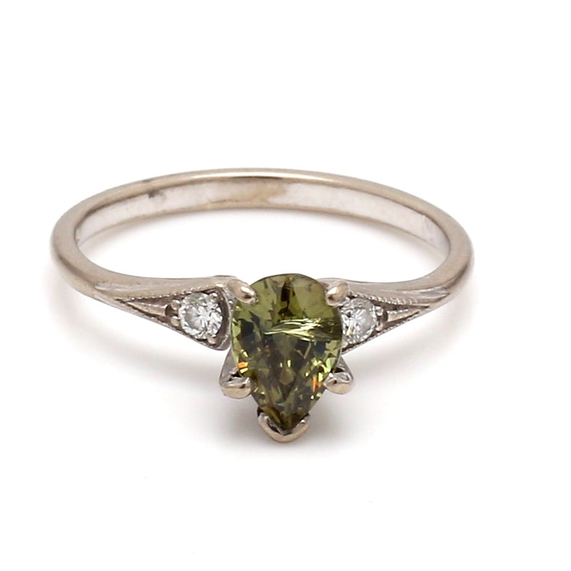 Vintage 14K White Gold, Demantoid Garnet & Diamond Ring - Sz. 5.5