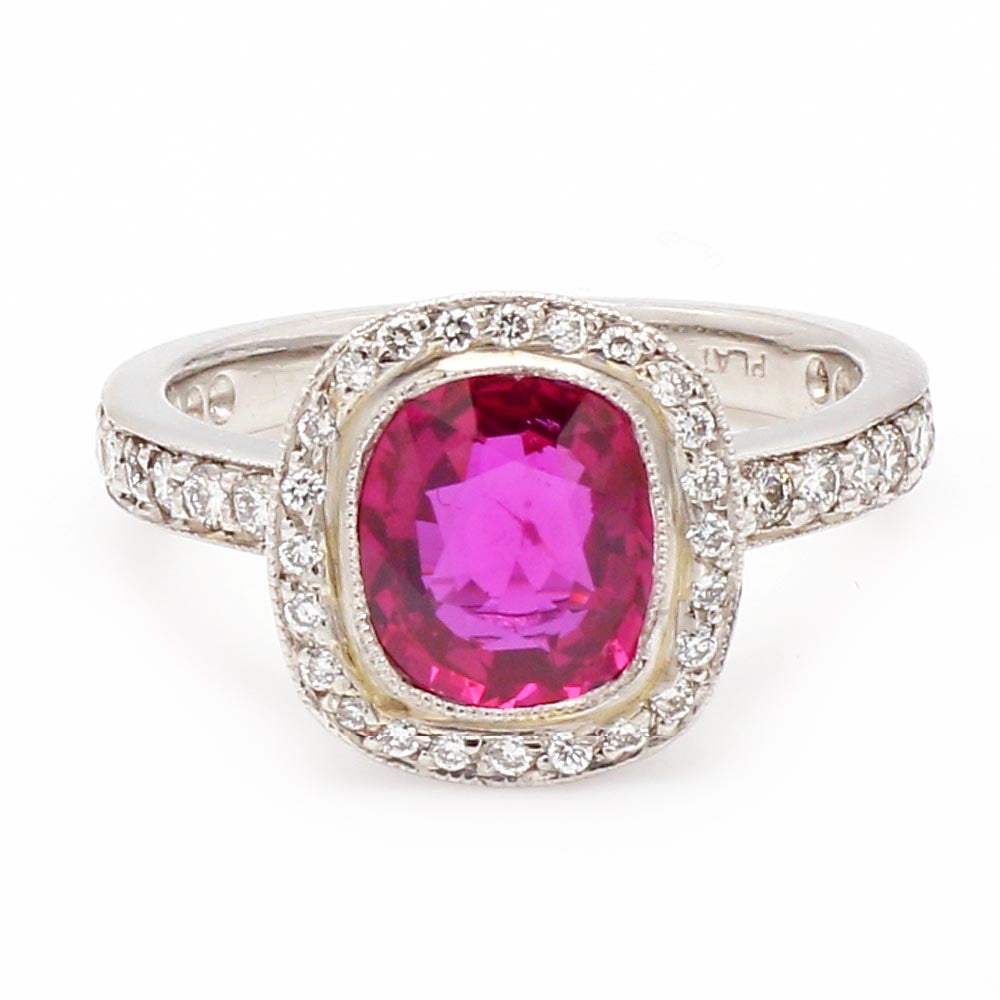 AGL Certified Platinum 2.02ct No Heat Ruby & Diamond Halo Ring - Sz. 5.75