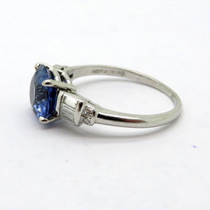 Platinum Round Sapphire and Baguette Diamond Fashion Statement Ring, Size 6.25