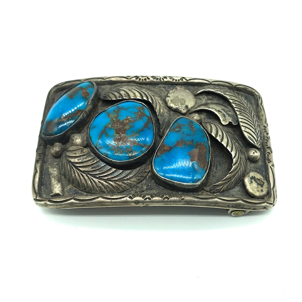Native American Sterling Silver Bisbee Turquoise Belt Buckle- Signed