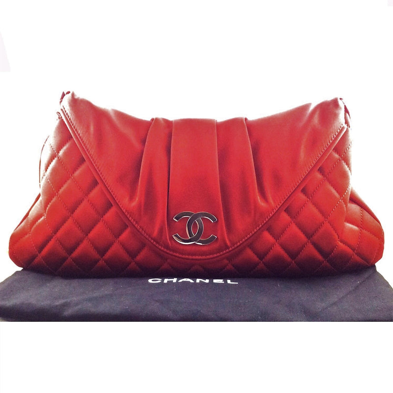 Chanel Red Quilted Satin Half Moon Envelope Clutch