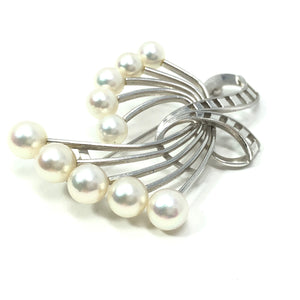 Mikimoto 14kt White Gold Cultured Akoya Pearl Brooch A+ Grade
