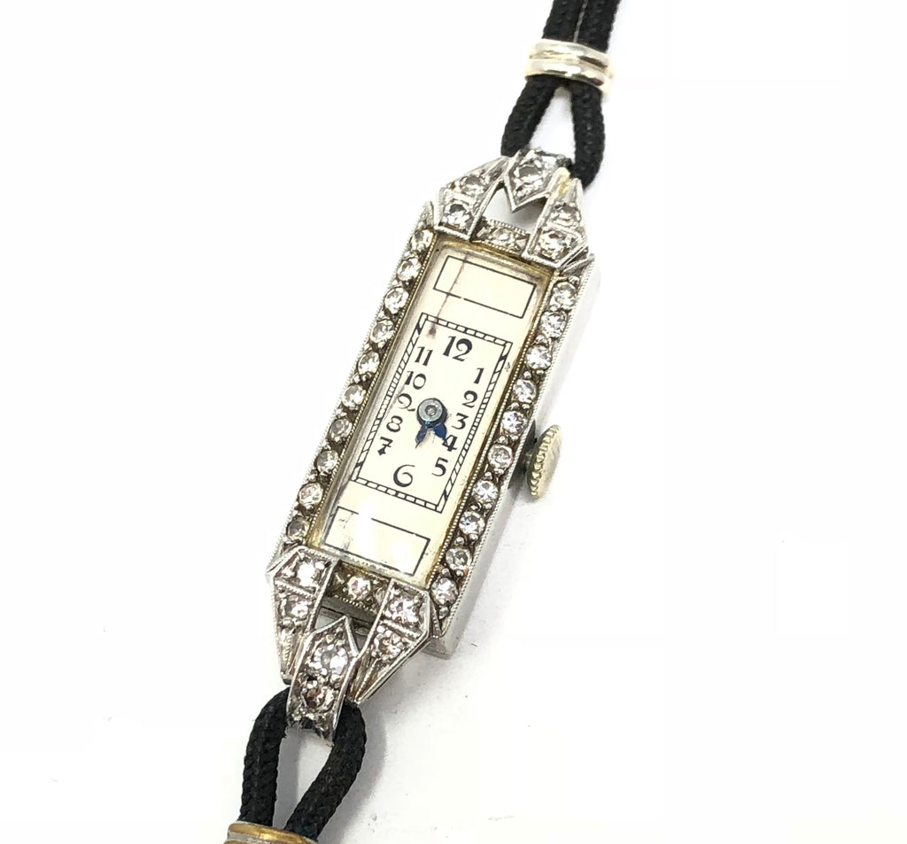 Vintage Estate Platinum Diamond Watch 14K White Gold Clasp