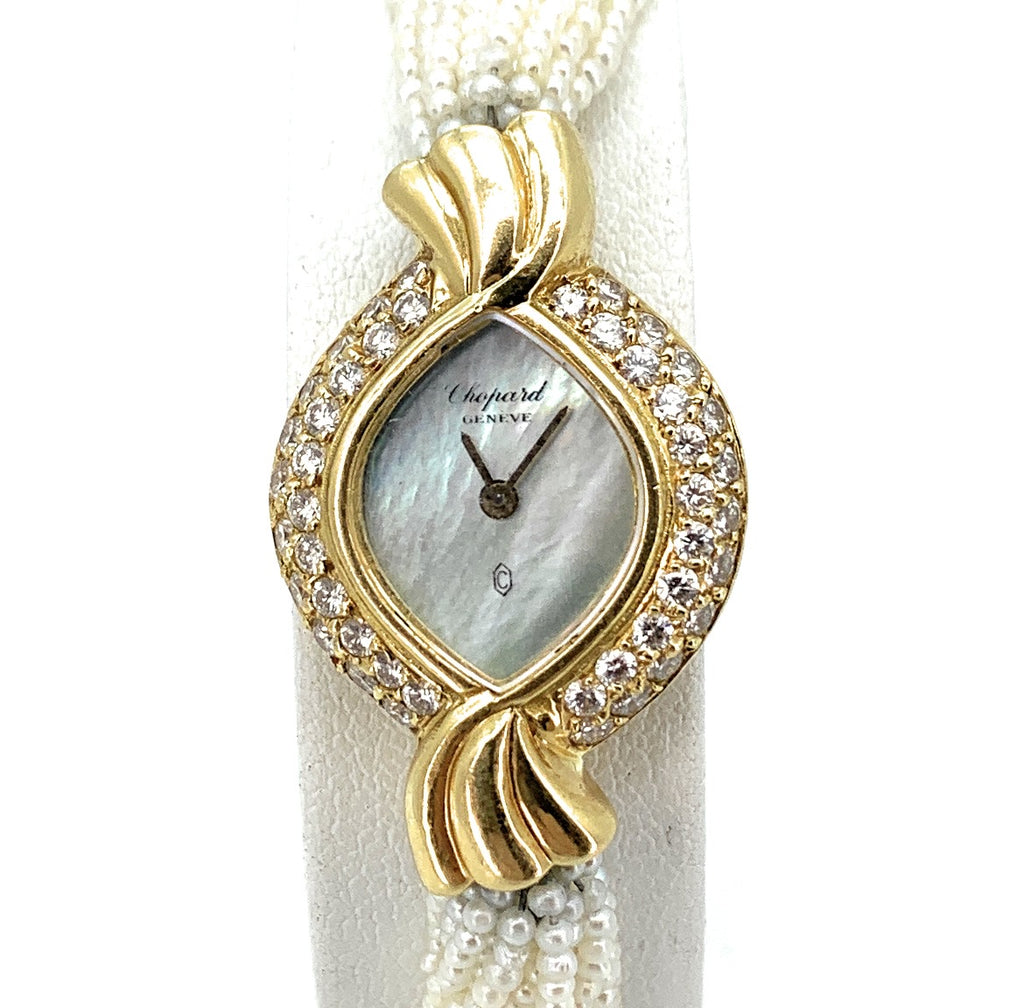 Chopard 18K YG & Diamond Case Seed Pearl Band Ladies Watch