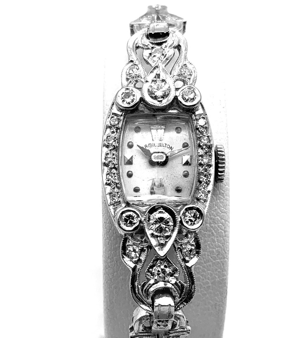 Antique Art Deco Hamilton 14K White Gold 0.50ctw Diamond Ladies Watch
