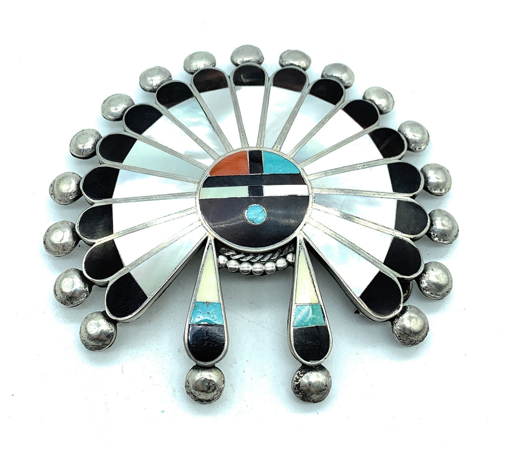 Vintage 1950's Zuni Sterling Silver Multi Stone Inlay Sun Face Kachina Belt Buckle