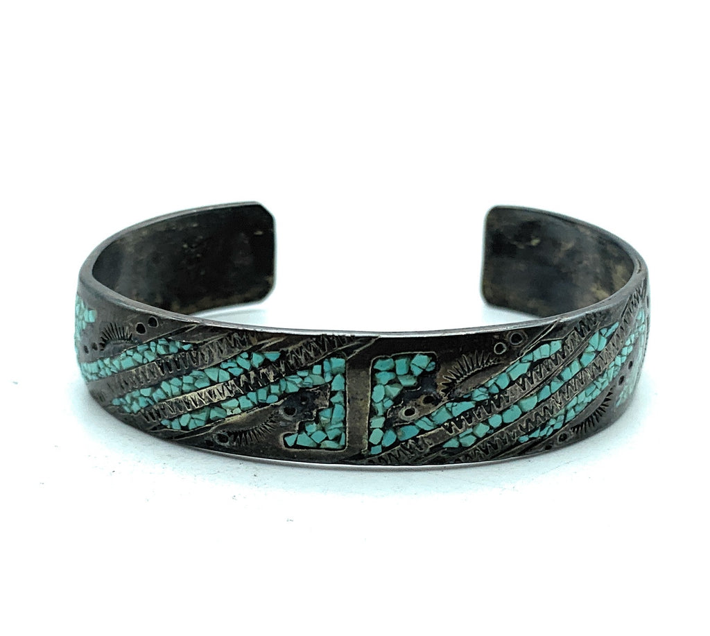 Vintage 1960's Zuni Sterling Silver Micro Inlay Turquoise Cuff Bracelet