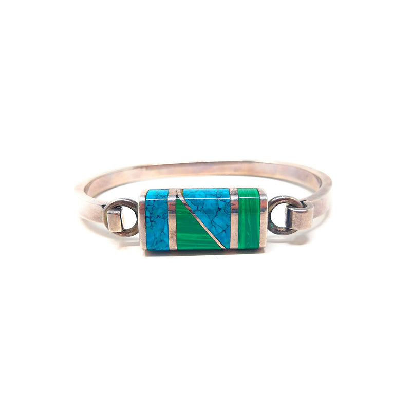 Taxco Mexico Sterling Silver Malachite and Turquoise Inlay Hinge Clasp Bracelet