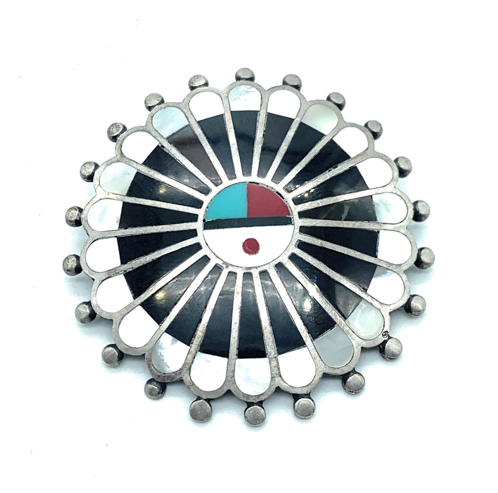 Vintage Zuni Sterling Silver Multi Stone Inlay Sungod Brooch Pendant
