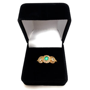 18K Yellow Gold Emerald & Diamond Halo Engagement Ring - Sz. 6.5